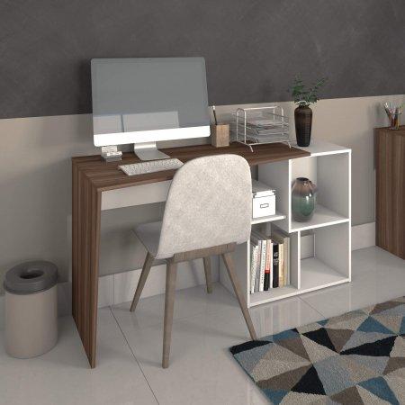 Mesa para Computador Escrivaninha 143,7 cm Branca com Ipê 10583026