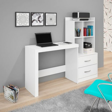 Mesa para Computador Escrivaninha 141 cm com Armário Branco 10184236