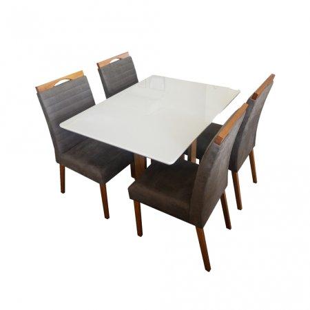Mesa Ello Decor Acácia Mel com Off White 120x90 cm com 4 Cadeiras Mel Tecido 62C Marrom Claro com Mel 10568011