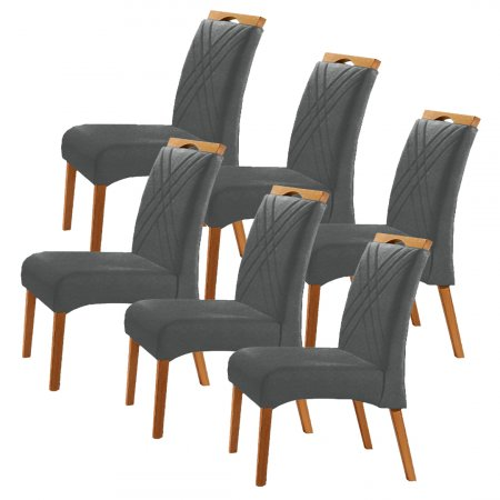 Conjunto 6 Cadeiras Jade Estofadas Tecido Veludo Grafite 10568165