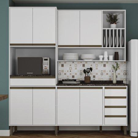 Cozinha Completa Vitoria 3 Peças 200 cm Branco 10523342