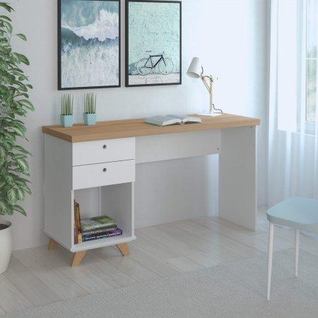 Mesa para Computador Escrivaninha 135 cm Branca com Olmo 10583027