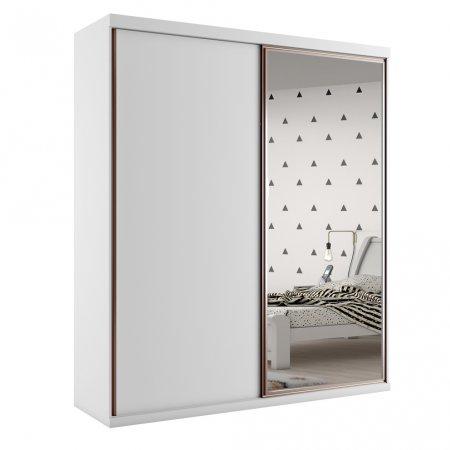 Guarda Roupa com 2 Portas de Correr e 1 Espelho 180 cm Branco 10589024