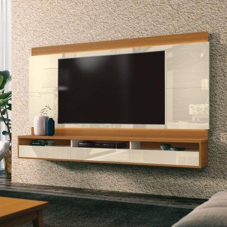 Painel Suspenso para TV 163 cm Off White com Cedro 10180232