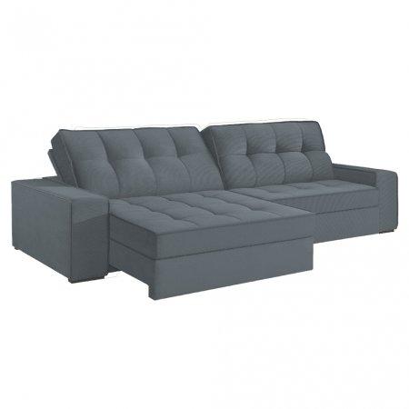 Sofá VIP Denver Retrátil e Reclinável 290 cm com Molas Ensacadas Tecido 117 Cinza Escuro 10249287