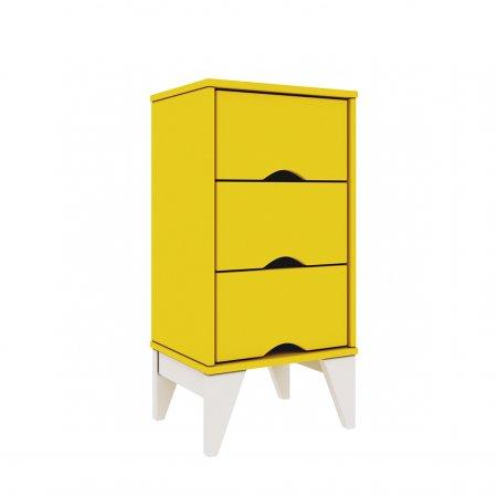 Criado 36 cm com 3 Gavetas Amarelo com Branco 10044135