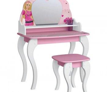 Penteadeira com Banco Barbie Star Branco com Rosa (Última Peça)
