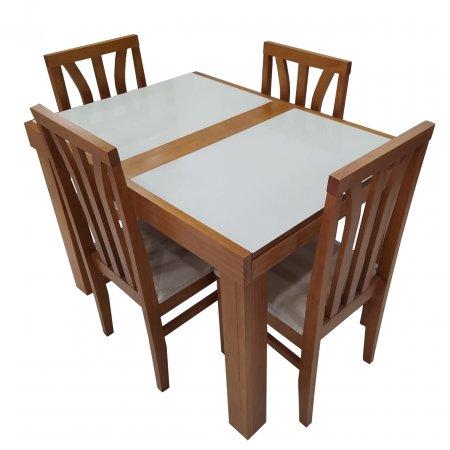 Mesa de Jantar Extensível com 4 Cadeiras 110/170cm Pinhão