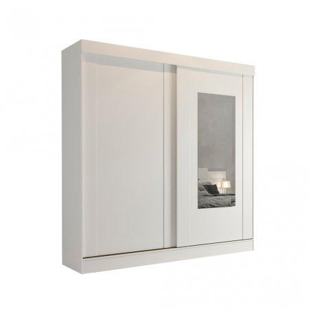 Guarda Roupa com 2 portas de Correr e 1 Espelho 183 cm Branco 10176063