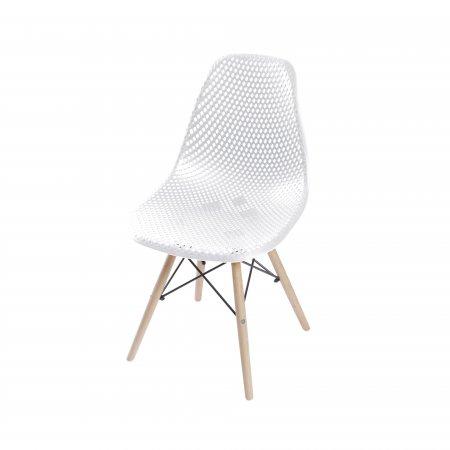 Cadeira Colméia Branca com Base Eiffel de Madeira