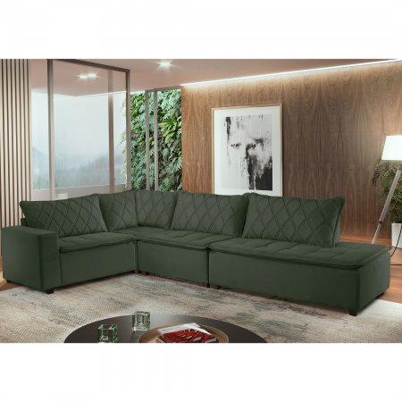 Sofá de Canto 206x339 com MP1919 Tecido Veludo Verde 10565790