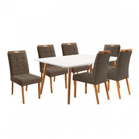 Mesa de Jantar Eld Mel com Off White 160x90 cm e 06 Cadeiras 240 Tecido Linho 44B Marrom com Mel 10568077