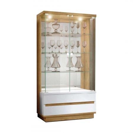 Cristaleira Pollo Decor 100 cm Gênova 02 Portas Cinamomo com Laca Off White 10508003