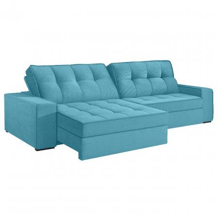 Sofá VIP Denver Retrátil e Reclinável 290 cm com Molas Ensacadas Tecido 114 Azul Turquesa