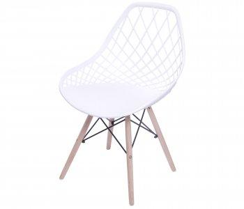 Cadeira Colmeia Branca com Base Eiffel de Madeira 10580036