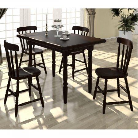 Mesa de Madeira com 4 cadeiras 125 cm cor Castanho