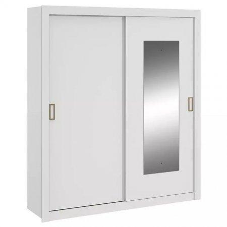 Guarda Roupa com 2 Portas de Correr e 1 Espelho 180 cm Branco 10365592