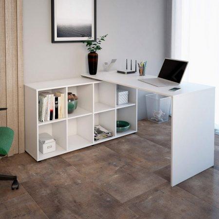 Mesa para Computador Escrivaninha de Canto 140 e 130 cm Branca 10583003