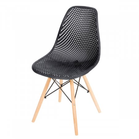 Cadeira Colméia Preta com Base Eiffel de Madeira