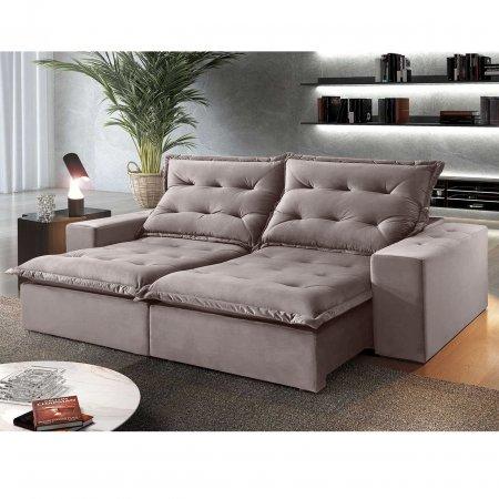 Sofá Retrátil 250 cm com encosto Reclinável Tecido Cinza 25003007
