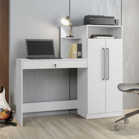 Mesa para Computador Escrivaninha 146 cm com Armário Branco 10184368
