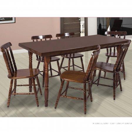 Mesa de Cozinha Torneada 160x80 cm e 6 cadeiras Cor Imbuia 10610021-023