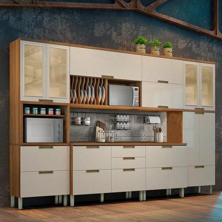 Cozinha Completa Camila 6 Peças 340 cm Freijó com Off White 10533041