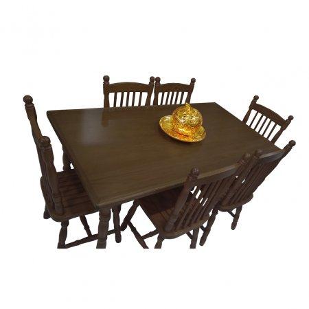 Mesa de Jantar Tirolesa 160x90 cm e 6 Cadeiras Cor Imbuia 10387006