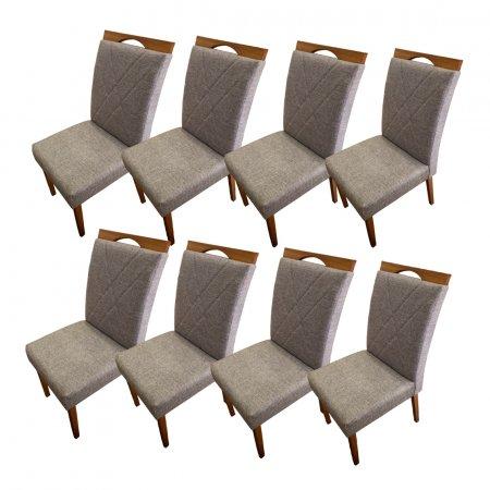 Conjunto 8 Cadeiras Safira Estofadas Tecido Linho Marron 10568190