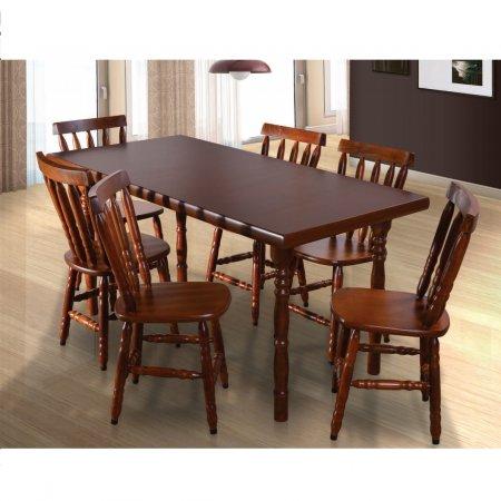 Mesa Torneada 160x80 cm e 6 Cadeiras Castanho Fosco 10610001