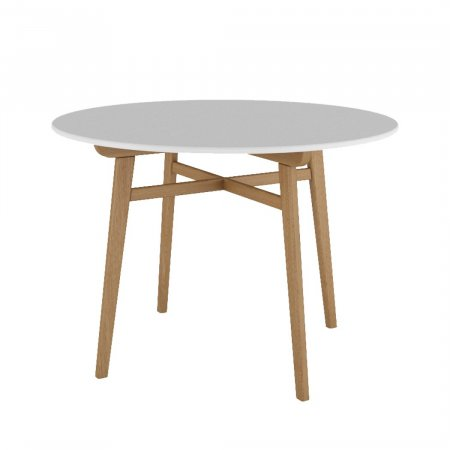 Mesa Redonda 110x110 cm Fit Branca com Natural 10579114