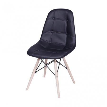 Cadeira Botone Preta com Base Madeira 10580040