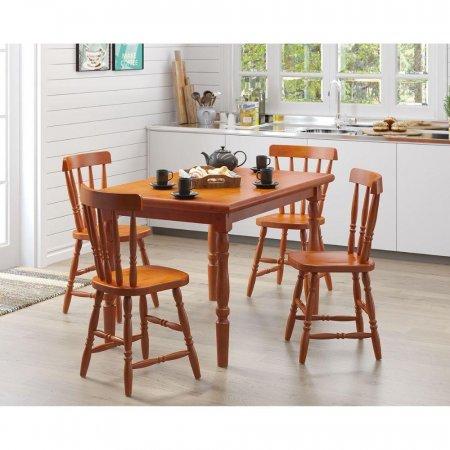 Mesa de Madeira com 4 cadeiras 125 cm cor Mel