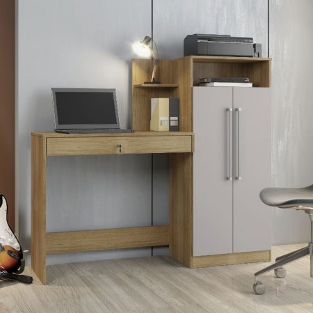 Mesa para Computador Escrivaninha 146 cm com Armário Noronha com Off White 10184364