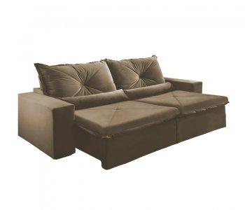 Sofá Retrátil com Encosto Reclinável Trento 250 cm Tecido Veludo Jolie Marrom Claro 10595036