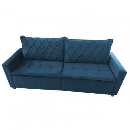 Sofá Fixo Plat 225 cm MP 2012 Tecido Veludo Azul 10565815