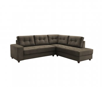 Sofá de Canto Rond 258x218 cm Tecido Veludo Gramado Marrom 10283253