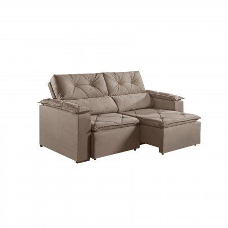 Sofá Retrátil com Encosto Reclinável Porto 220 cm Pillow Tecido Veludo Bege 25002060