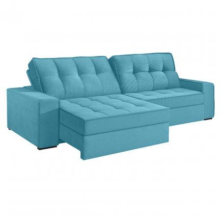 Sofá VIP Denver Retrátil e Reclinável 240 cm com Molas Ensacadas Tecido 114 Veludo Azul Turquesa
