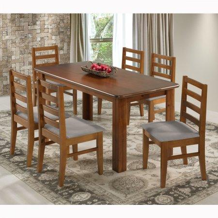 Mesa para Cozinha 150x80 cm Castanho e 6 Cadeiras Estofadas 10159009