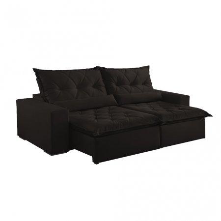 Sofá Retrátil com Encosto Reclinável Ouro Branco 290 cm Tecido Veludo Marrom Escuro 10595067