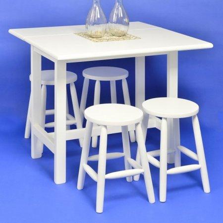 Mesa Dobrável 90x53 cm com 4 Banquetas sem Encosto Branca 10391008