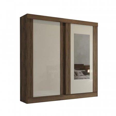 Guarda Roupa com 2 portas de Correr e 1 Espelho 183 cm Café com Off White 10176064