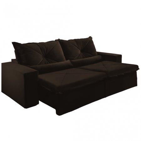 Sofá Retrátil com Encosto Reclinável Trento 250 cm Tecido Veludo Jolie Marrom Escuro 10595035