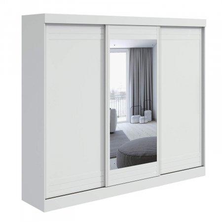 Guarda Roupa 270 cm 3 Portas Speciale com Espelho e Pés Branco 10365572
