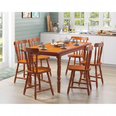Mesa de Madeira com 6 cadeiras 160 cm cor Mel