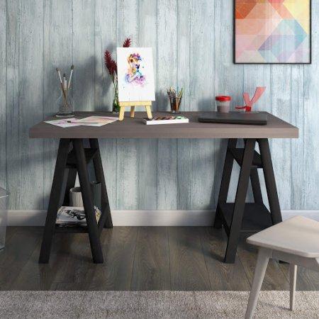 Mesa para Computador Escrivaninha 135 cm Avelã/Preto 10583011
