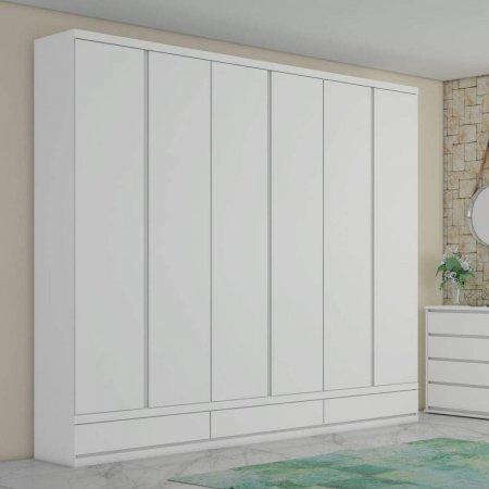 Guarda Roupa com 6 Portas de Abrir 270 cm Branco 10589013