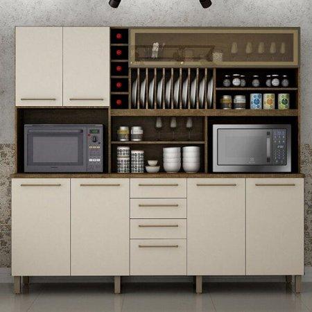 Armário Kit de Cozinha Maranella 199 cm Ipe com Off  10561047