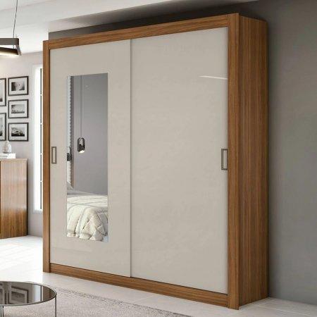 Guarda Roupa com 2 Portas de Correr e 1 Espelho 180 cm Flex Rovere Naturale com Off White 10365593